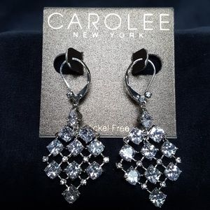 CAROLEE SILVER CRYSTAL CZ EARRINGS DANGLING KITES
